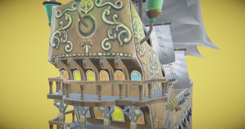 Whale Ship Hand-Painted