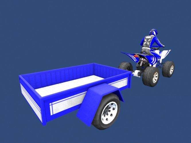 Low Poly Quad Bike With Trailer & Rider - 1