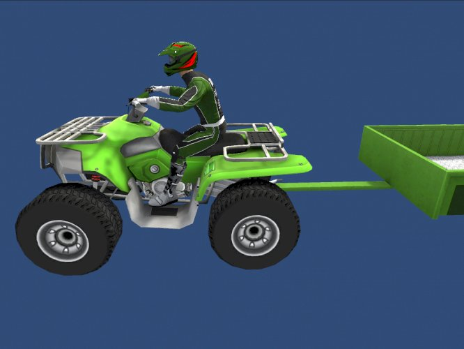 Low Poly Quad Bike With Trailer & Rider - 6