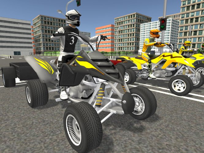 Low Poly City Modular & Quad Bike With Riders & Trailers